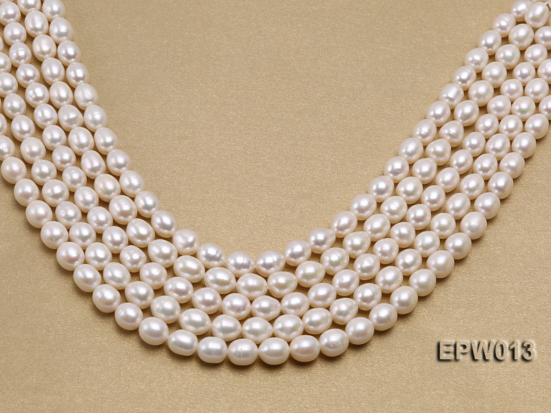 Wholesale Classic 8x9mm White Rice-shaped Freshwater Pearl String big Image 1