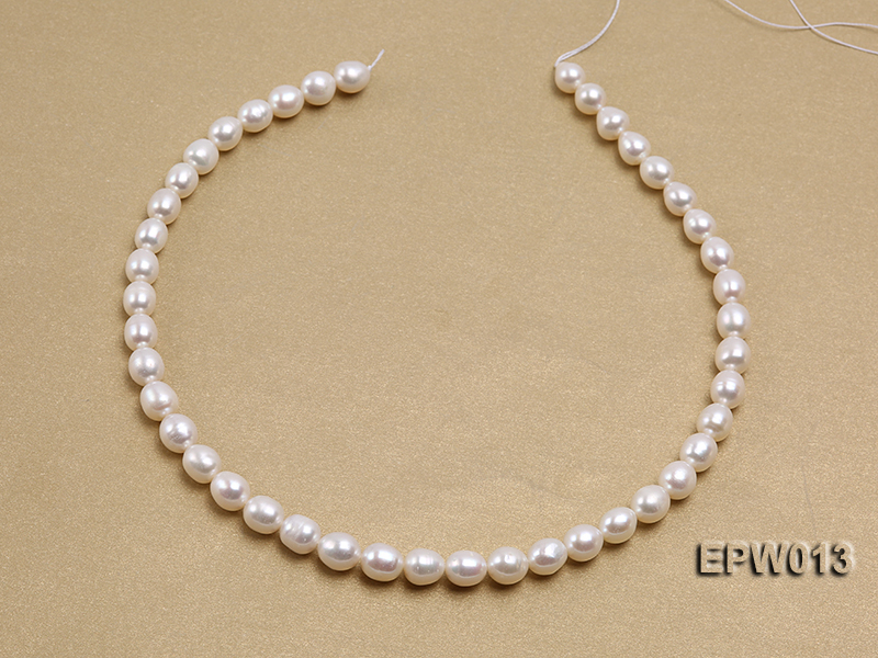 Wholesale Classic 8x9mm White Rice-shaped Freshwater Pearl String big Image 3