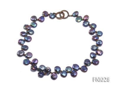 Classic 11x13mm Black Button-shaped Freshwater Pearl Necklace with Golden Gilded Beads FNI028 Image 1