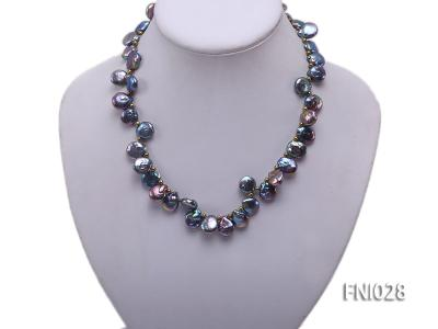 Classic 11x13mm Black Button-shaped Freshwater Pearl Necklace with Golden Gilded Beads FNI028 Image 2