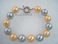 12mm colorful round seashell pearl bracelet SPB038