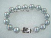 12mm grey round seashell pearl bracelet with shiny gilded clasp SPB041