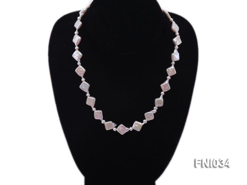 Classic 11mm  White Rhombus Freshwater Pearl Necklace with Small Round Pearls big Image 3