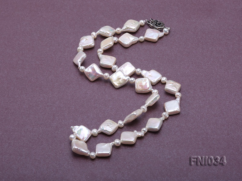 Classic 11mm  White Rhombus Freshwater Pearl Necklace with Small Round Pearls big Image 4