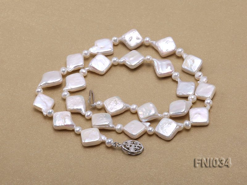 Classic 11mm  White Rhombus Freshwater Pearl Necklace with Small Round Pearls big Image 5