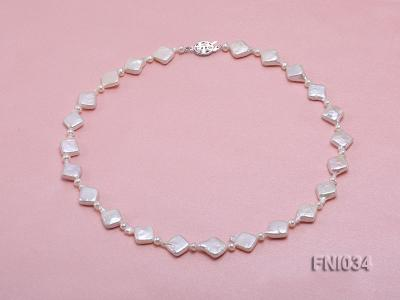 Classic 11mm  White Rhombus Freshwater Pearl Necklace with Small Round Pearls FNI034 Image 1