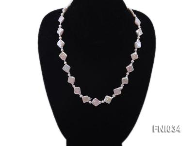 Classic 11mm  White Rhombus Freshwater Pearl Necklace with Small Round Pearls FNI034 Image 3