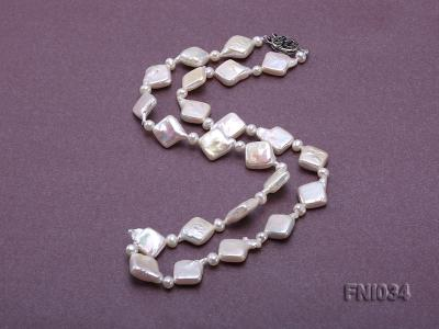 Classic 11mm  White Rhombus Freshwater Pearl Necklace with Small Round Pearls FNI034 Image 4