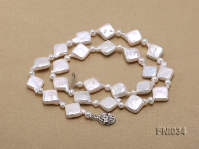 Classic 11mm  White Rhombus Freshwater Pearl Necklace with Small Round Pearls FNI034 Image 5