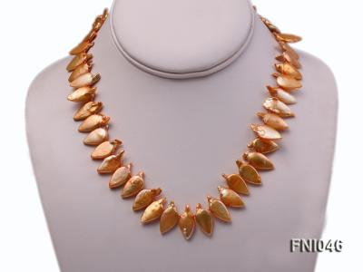 Classic 10x21mm Golden Leaf-shaped Freshwater Pearl Necklace FNI046 Image 2