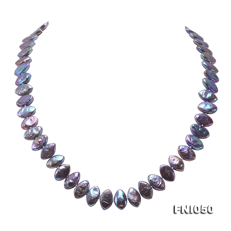 Classic 6.5x12.5mm Purple Seed-shaped Freshwater Pearl Necklace big Image 1