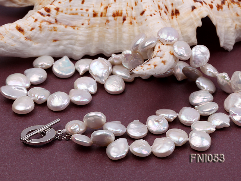 Classic 11-12mm White side-drilled Button Freshwater Pearl Necklace big Image 5