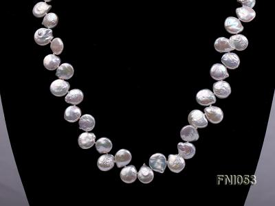 Classic 11-12mm White side-drilled Button Freshwater Pearl Necklace FNI053 Image 2