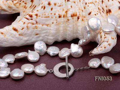 Classic 11-12mm White side-drilled Button Freshwater Pearl Necklace FNI053 Image 4