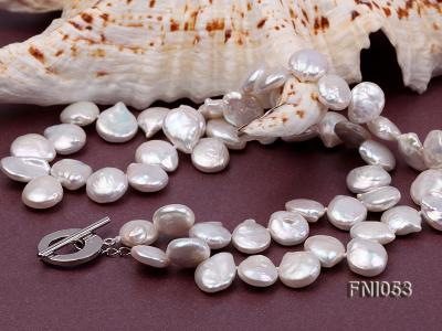 Classic 11-12mm White side-drilled Button Freshwater Pearl Necklace FNI053 Image 5