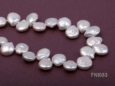 Classic 11-12mm White side-drilled Button Freshwater Pearl Necklace FNI053 Image 7