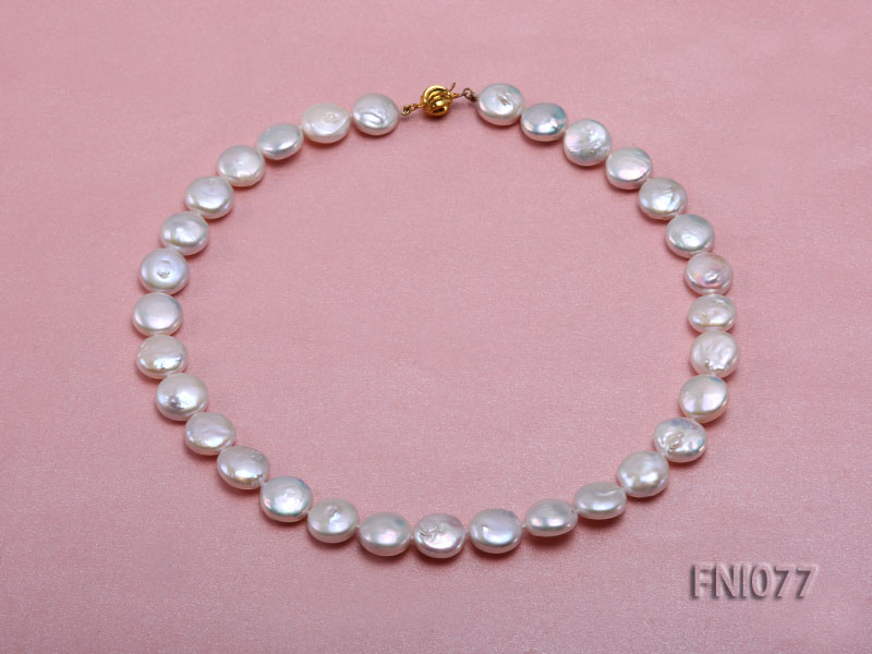 Classic 12mm White Button-shaped Freshwater Pearl Necklace big Image 1