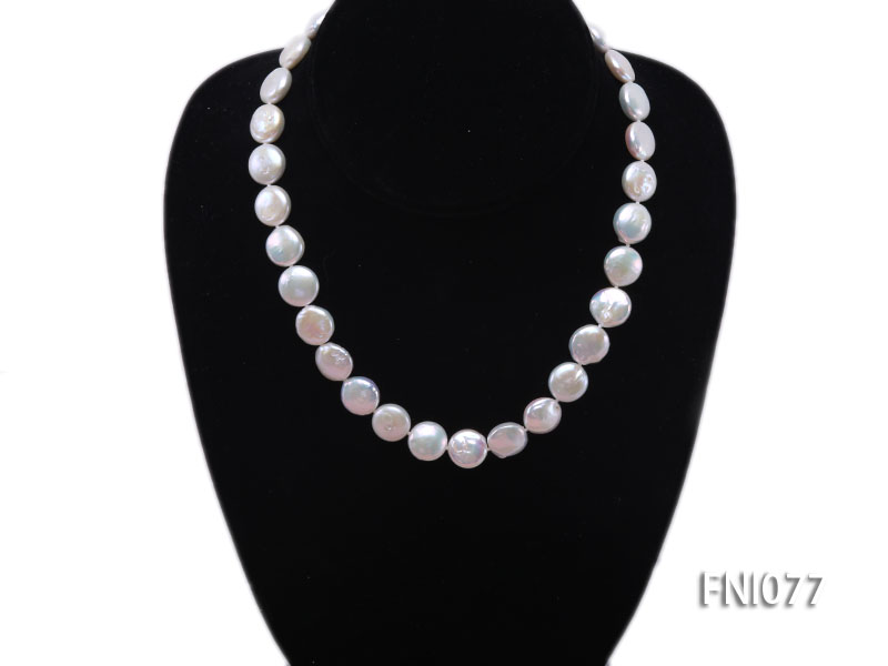 Classic 12mm White Button-shaped Freshwater Pearl Necklace big Image 2