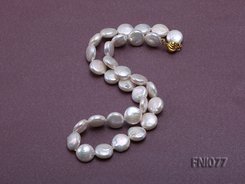 Classic 12mm White Button-shaped Freshwater Pearl Necklace big Image 3