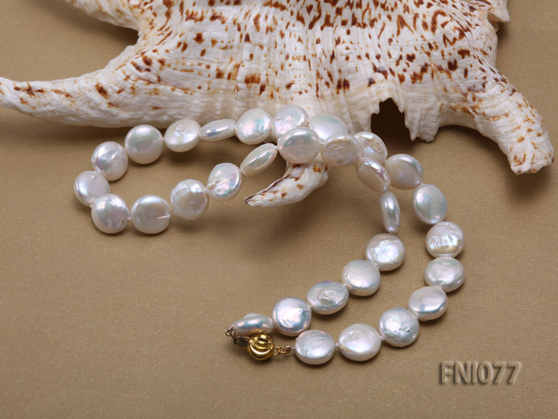 Classic 12mm White Button-shaped Freshwater Pearl Necklace big Image 5