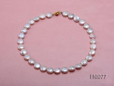 Classic 12mm White Button-shaped Freshwater Pearl Necklace FNI077 Image 1