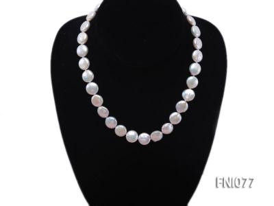 Classic 12mm White Button-shaped Freshwater Pearl Necklace FNI077 Image 2