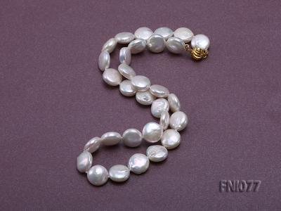 Classic 12mm White Button-shaped Freshwater Pearl Necklace FNI077 Image 3