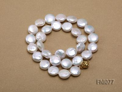 Classic 12mm White Button-shaped Freshwater Pearl Necklace FNI077 Image 4