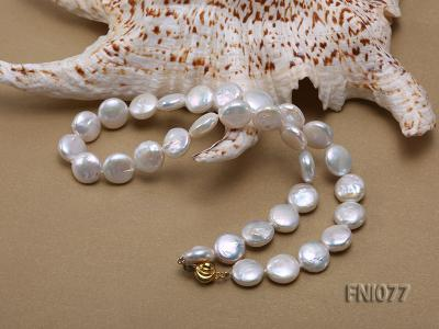 Classic 12mm White Button-shaped Freshwater Pearl Necklace FNI077 Image 5