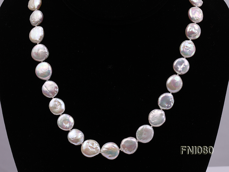 Classic 11-12mm White Button Freshwater Pearl Necklace big Image 3