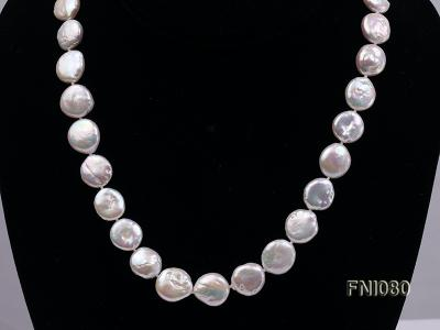 Classic 11-12mm White Button Freshwater Pearl Necklace FNI080 Image 3
