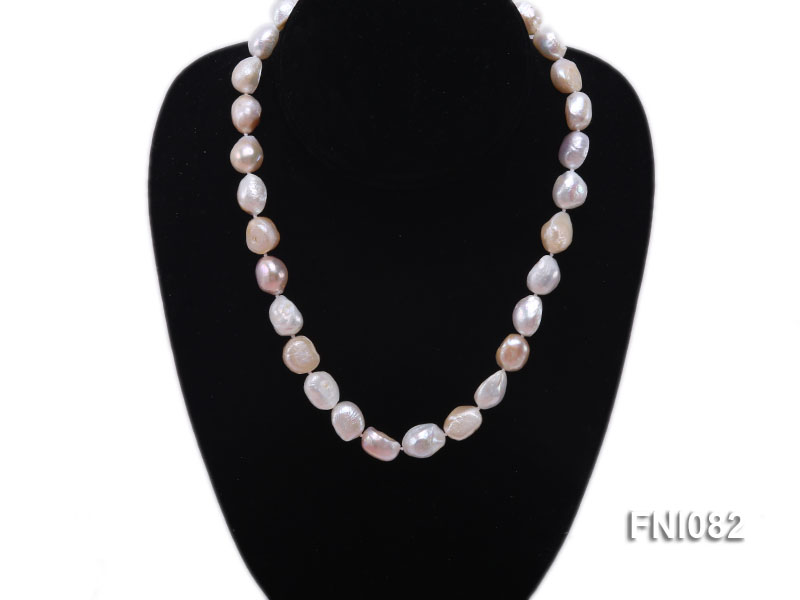 Classic 10-11mm Multi-color Irregular Freshwater Pearl Necklace big Image 3