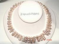 7x19mm-9x25mm white irregular-shaped freshwater pearl necklace FNI093