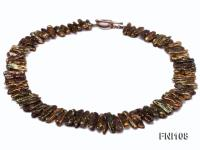 Classic 8x20-10x35mm Coffee Freshwater Pearl Sticks Necklace FNI108