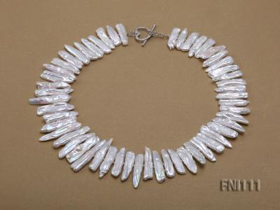 Classic 7x20-8x40mm White Stick-shaped Freshwater Pearl Necklace FNI111 Image 2