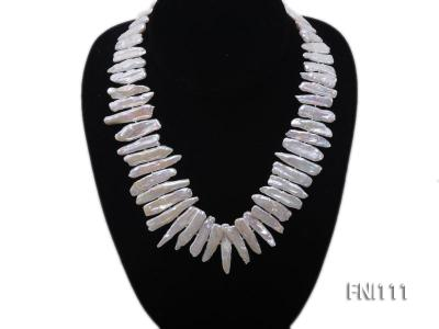 Classic 7x20-8x40mm White Stick-shaped Freshwater Pearl Necklace FNI111 Image 3