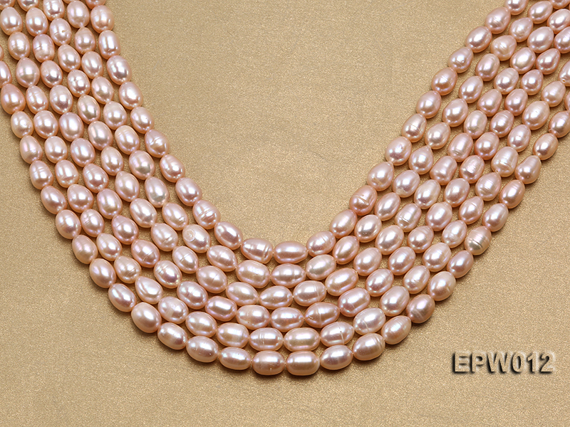 Wholesale 7.5X10.5mm Natural Pink Rice-shaped Freshwater Pearl String big Image 1