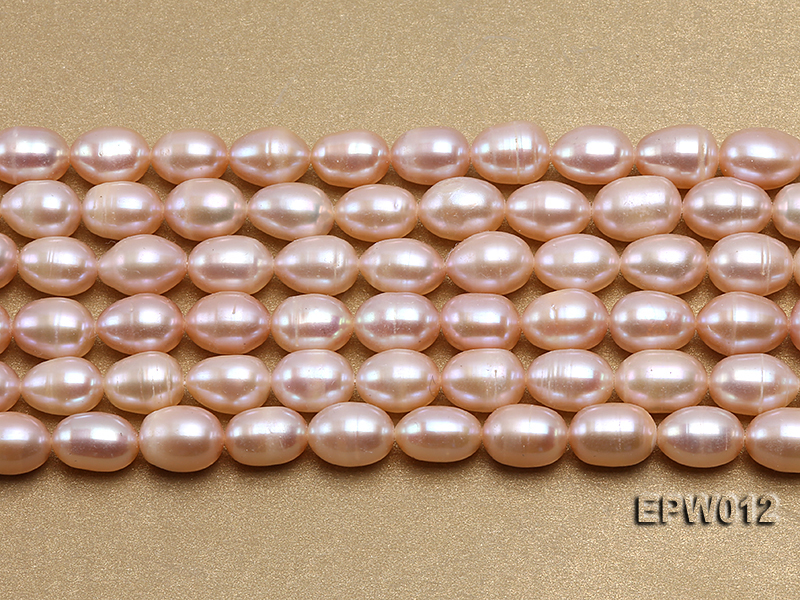 Wholesale 7.5X10.5mm Natural Pink Rice-shaped Freshwater Pearl String big Image 2