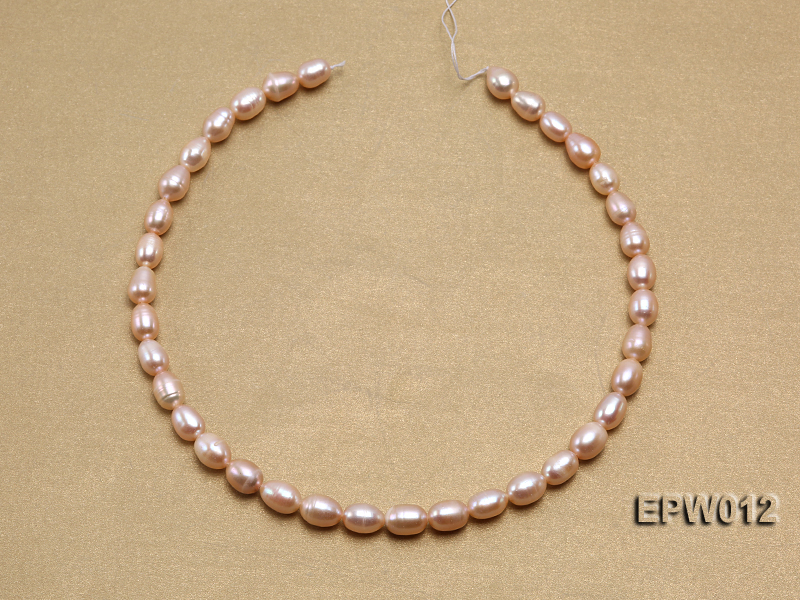 Wholesale 7.5X10.5mm Natural Pink Rice-shaped Freshwater Pearl String big Image 3