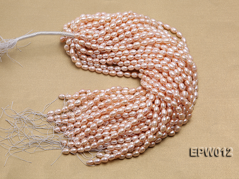 Wholesale 7.5X10.5mm Natural Pink Rice-shaped Freshwater Pearl String big Image 4