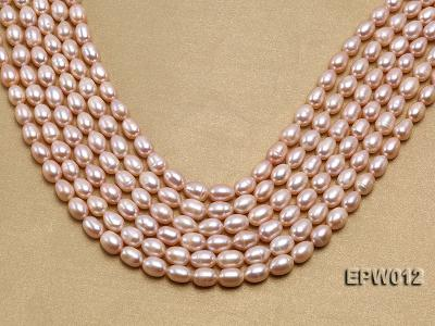Wholesale 7.5X10.5mm Natural Pink Rice-shaped Freshwater Pearl String EPW012 Image 1
