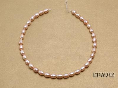 Wholesale 7.5X10.5mm Natural Pink Rice-shaped Freshwater Pearl String EPW012 Image 3