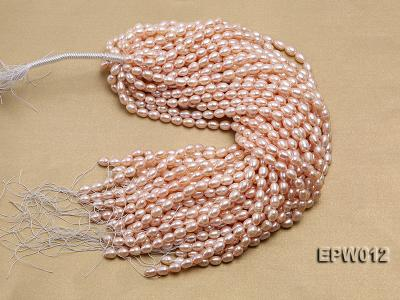 Wholesale 7.5X10.5mm Natural Pink Rice-shaped Freshwater Pearl String EPW012 Image 4