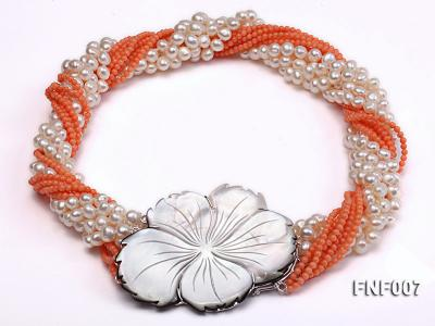 Multi-strand White Freshwater Pearl and Red Coral Beads Necklace FNF007 Image 1