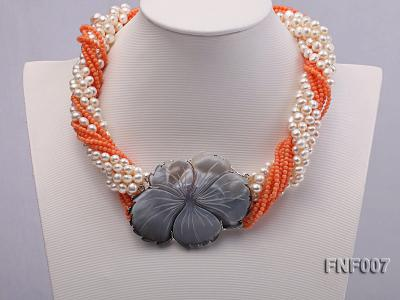 Multi-strand White Freshwater Pearl and Red Coral Beads Necklace FNF007 Image 2