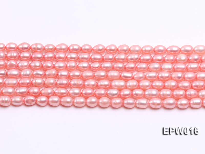 Wholesale 5.5X7mm Pink Rice-shaped Freshwater Pearl String big Image 2