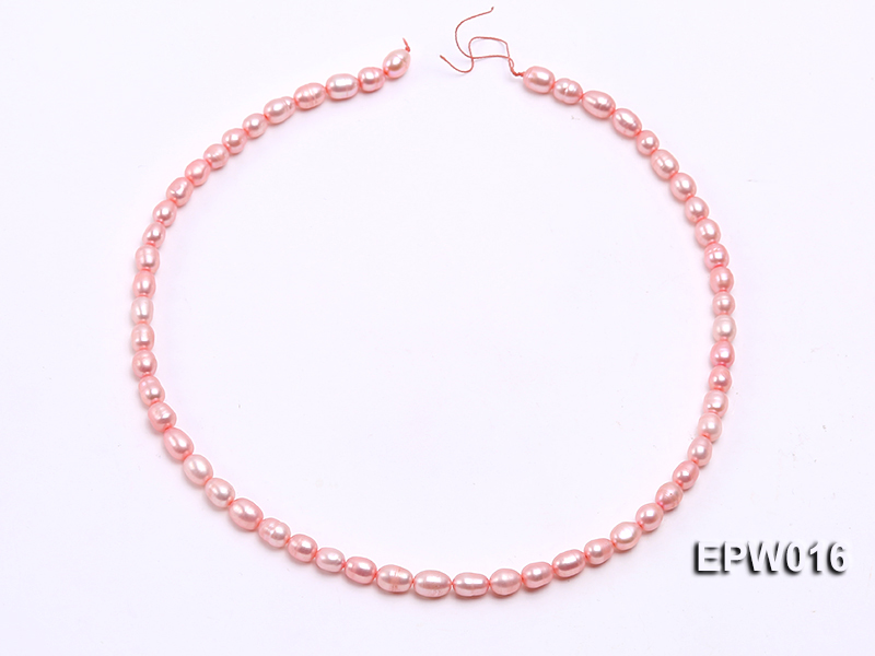 Wholesale 5.5X7mm Pink Rice-shaped Freshwater Pearl String big Image 3