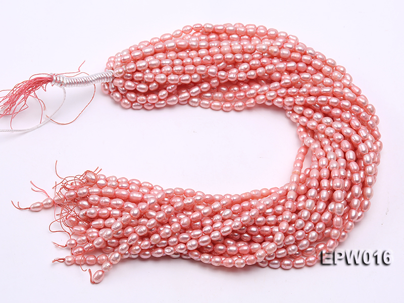 Wholesale 5.5X7mm Pink Rice-shaped Freshwater Pearl String big Image 4