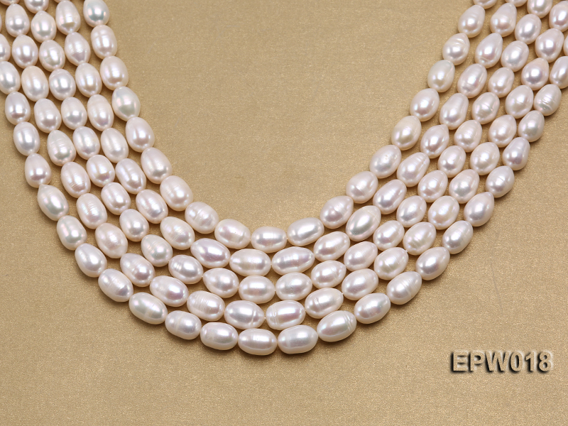 Wholesale 8.5X13mm Classic White Rice-shaped Freshwater Pearl String big Image 1
