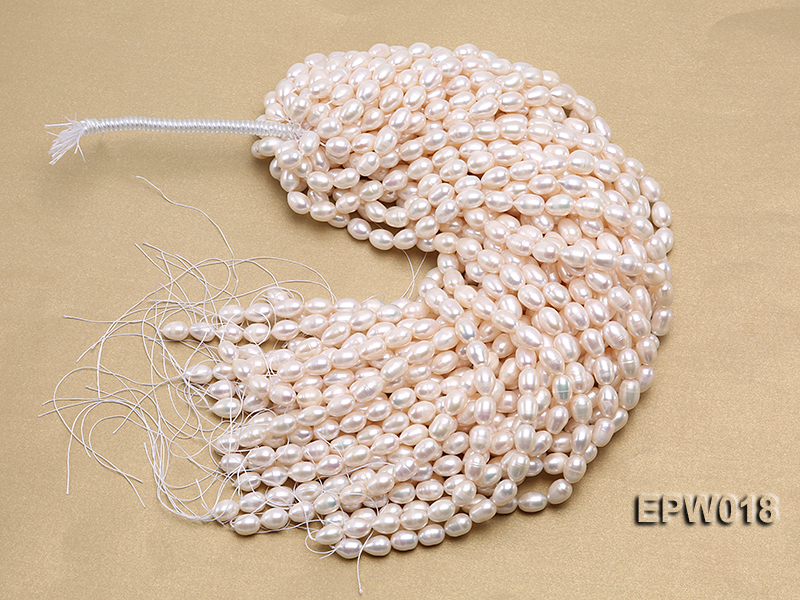 Wholesale 8.5X13mm Classic White Rice-shaped Freshwater Pearl String big Image 4